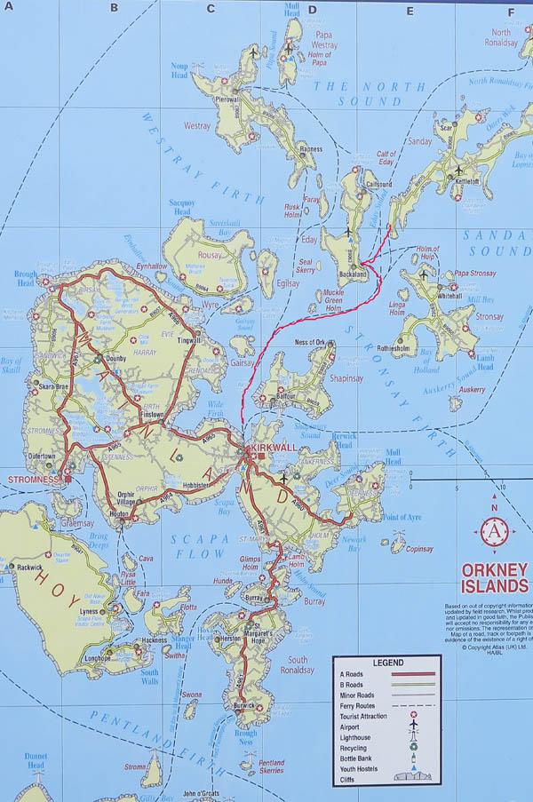 Übersichtskarte Orkney Inseln ©Sabine Mey-Gordeyns
