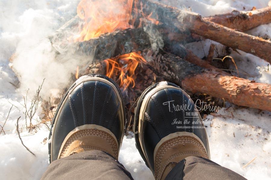 Das Lagerfeuer kann gar nicht heiß genug sein! ©Sabine Mey-Gordeyns