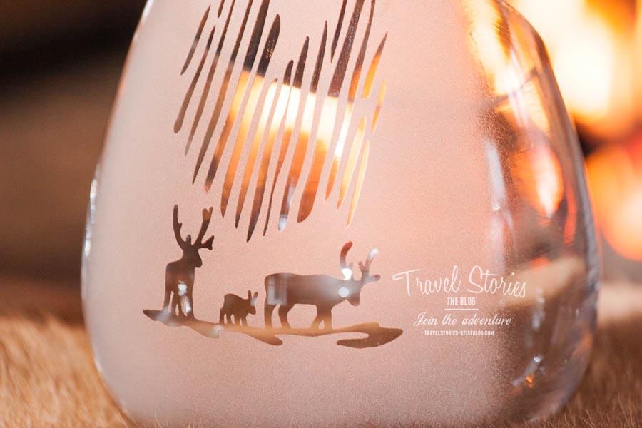 Windlicht by Arctic Glas: Rentier und Elch unterm Nordlicht ©Sabine Mey-Gordeyns