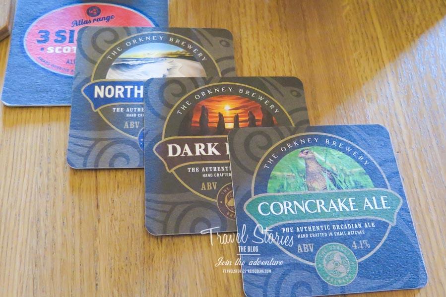 Die Bierdeckel der Orkney Brewery stehen in der Gestaltung den Bieretiketten nicht nach ©Sabine Mey-Gordeyns