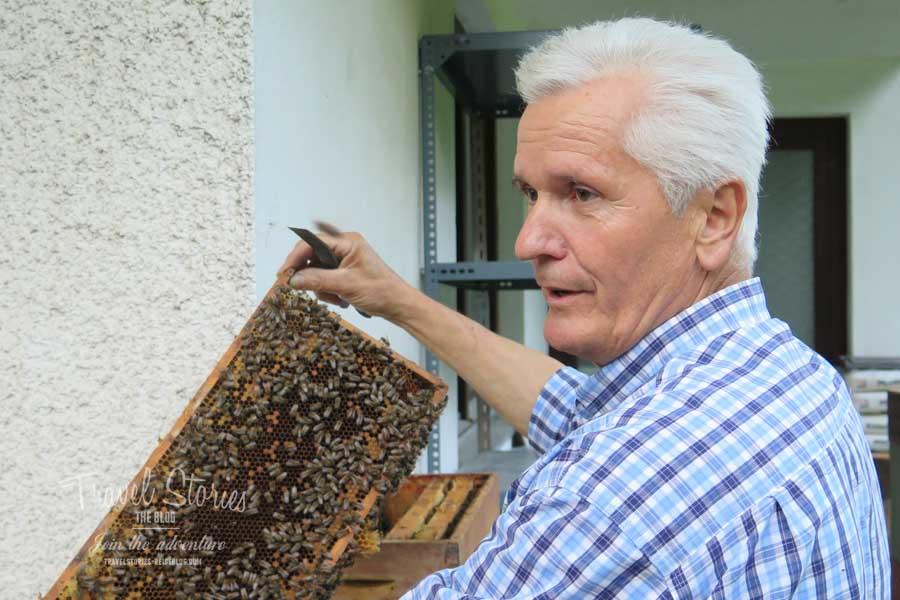 Imker Michael und sein Carnica Bienenvolk ©Sabine Mey-Gordeyns, travelstories-reiseblog.com