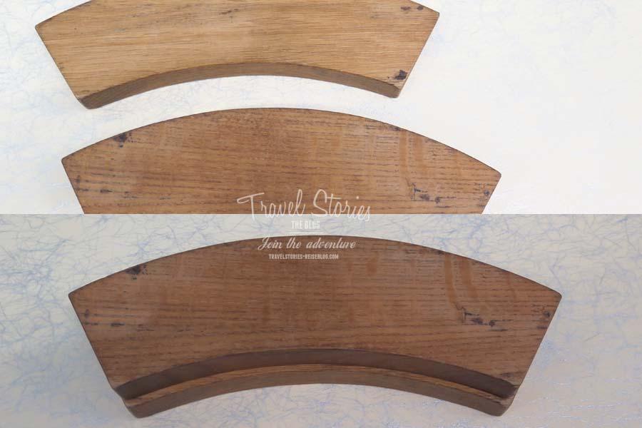 Verblüffend und zum Anfassen: diese zwei Holzstücke haben exakt die gleiche Größe, erscheinen dem Auge des Betrachters aber unterschiedlich groß ©Sabine Mey-Gordeyns, travelstories-reiseblog.com
