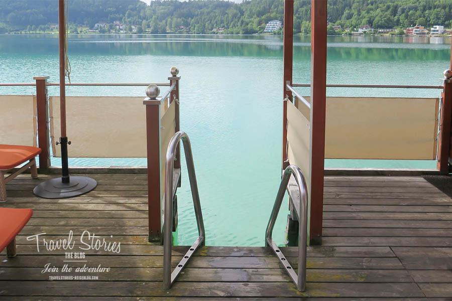 Einstieg in den Klopeiner See von der Seesauna aus © Sabine Mey-Gordeyns, travelstories-reiseblog.com
